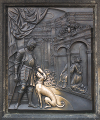 聖ヤン・ネポムツキー像の台座左側レリーフ
