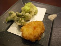天ぷら(しんじょう、タラの芽、空豆)