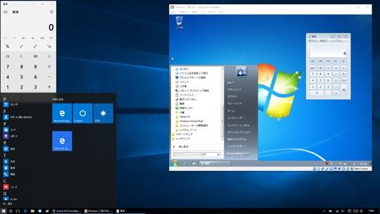 Widows10上のOracle VM VirtualBoxでWindows7を起動しているところ