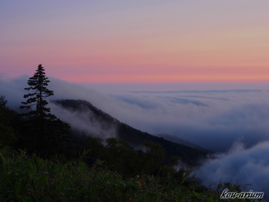 明け方の津別峠展望施設から眺めた雲海