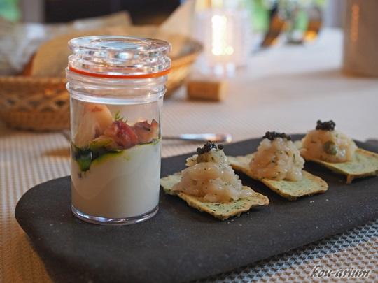 常呂産ホタテ貝とワカメのサブレ、蛸の燻製