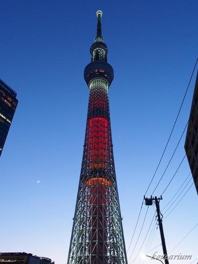 三日月と東京スカイツリー